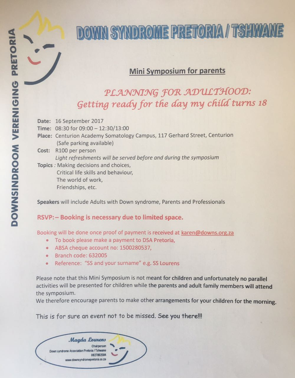 Younger years parent symposium 2017