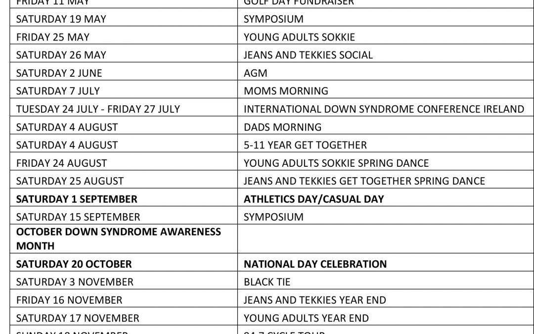 Our year Calendar – Dates subject to change