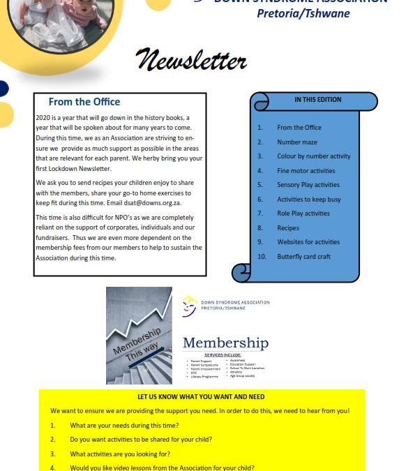 Lockdown Edition 1 Newsletter 2020